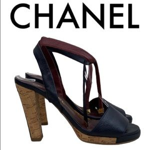 CHANEL BLUE BURGUNDY WRAP SANDAL HEELS SIZE 7